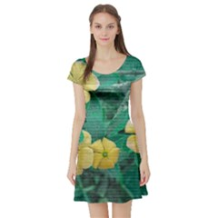 Yellow Flowers At Nature Short Sleeve Skater Dress by dflcprints