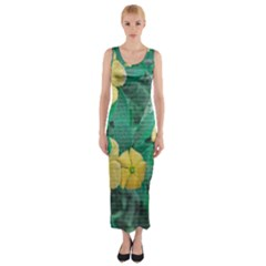 Yellow Flowers At Nature Fitted Maxi Dress by dflcprints