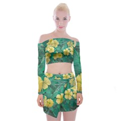 Yellow Flowers At Nature Off Shoulder Top With Skirt Set by dflcprints