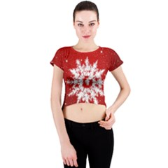 Background Christmas Star Crew Neck Crop Top