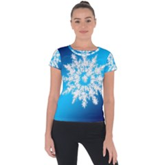 Background Christmas Star Short Sleeve Sports Top  by Nexatart