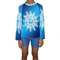 Background Christmas Star Kids  Long Sleeve Swimwear by Nexatart