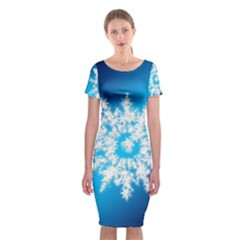 Background Christmas Star Classic Short Sleeve Midi Dress