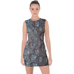 Drop Of Water Condensation Fractal Lace Up Front Bodycon Dress