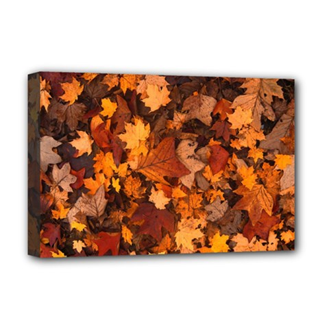 Fall Foliage Autumn Leaves October Deluxe Canvas 18  X 12