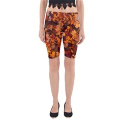 Fall Foliage Autumn Leaves October Yoga Cropped Leggings by Nexatart
