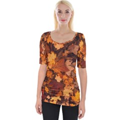 Fall Foliage Autumn Leaves October Wide Neckline Tee
