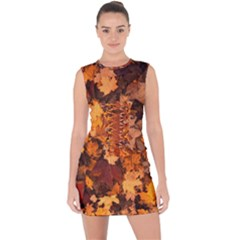 Fall Foliage Autumn Leaves October Lace Up Front Bodycon Dress
