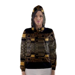 Board Digitization Circuits Hooded Wind Breaker (women) by Nexatart