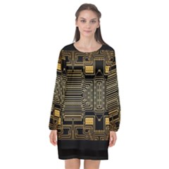 Board Digitization Circuits Long Sleeve Chiffon Shift Dress