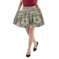 Dollar Currency Money Us Dollar A Line Pocket Skirt by Nexatart