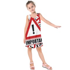 Important Stamp Imprint Kids  Sleeveless Dress