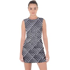 Grid Wire Mesh Stainless Rods Lace Up Front Bodycon Dress