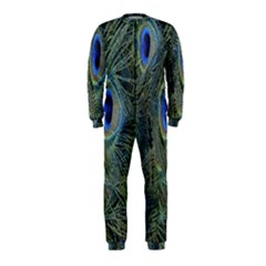 Peacock Feathers Blue Bird Nature Onepiece Jumpsuit (kids) by Nexatart