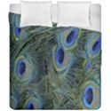 Peacock Feathers Blue Bird Nature Duvet Cover Double Side (California King Size) View1