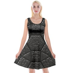Tile Emboss Luxury Artwork Depth Reversible Velvet Sleeveless Dress