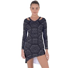 Tile Emboss Luxury Artwork Depth Asymmetric Cut Out Shift Dress