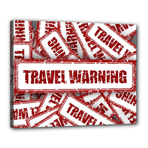 Travel Warning Shield Stamp Canvas 20  X 16  by Nexatart