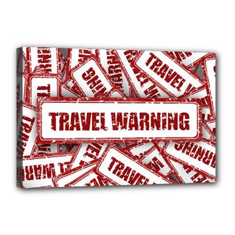 Travel Warning Shield Stamp Canvas 18  X 12  by Nexatart