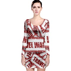 Travel Warning Shield Stamp Long Sleeve Bodycon Dress