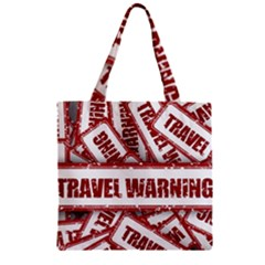 Travel Warning Shield Stamp Zipper Grocery Tote Bag by Nexatart