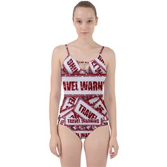 Travel Warning Shield Stamp Cut Out Top Tankini Set