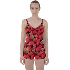 Strawberries Berries Fruit Tie Front Two Piece Tankini