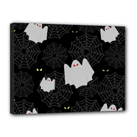 Spider Web And Ghosts Pattern Canvas 16  X 12  by Valentinaart