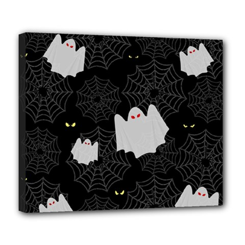Spider Web And Ghosts Pattern Deluxe Canvas 24  X 20   by Valentinaart