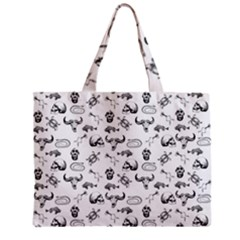 Skeleton Pattern Zipper Mini Tote Bag by Valentinaart