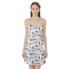 Skeleton Pattern Satin Night Slip