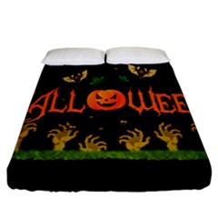 Halloween Fitted Sheet (california King Size) by Valentinaart