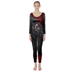 Awesmoe Black Horse With Flowers On Red Background Long Sleeve Catsuit