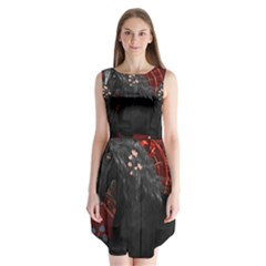 Awesmoe Black Horse With Flowers On Red Background Sleeveless Chiffon Dress   by FantasyWorld7
