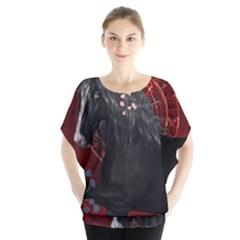 Awesmoe Black Horse With Flowers On Red Background Blouse