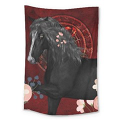 Awesmoe Black Horse With Flowers On Red Background Large Tapestry by FantasyWorld7