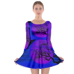 Halloween Landscape Long Sleeve Skater Dress
