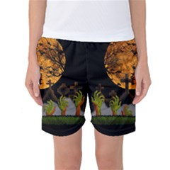 Halloween Zombie Hands Women s Basketball Shorts