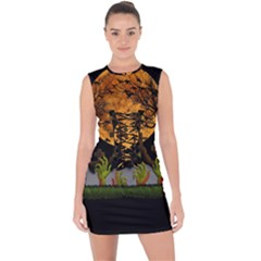 Halloween Zombie Hands Lace Up Front Bodycon Dress