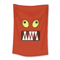 Funny Monster Face Small Tapestry by linceazul
