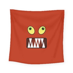 Funny Monster Face Square Tapestry (small) by linceazul