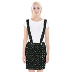 Splatter Abstract Dark Pattern Braces Suspender Skirt by dflcprints