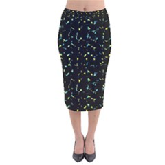 Splatter Abstract Dark Pattern Velvet Midi Pencil Skirt by dflcprints