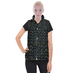 Splatter Abstract Dark Pattern Women s Button Up Puffer Vest by dflcprints