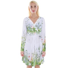 Carrot Flowers Long Sleeve Front Wrap Dress