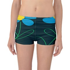 Whimsical Blue Flower Green Sexy Boyleg Bikini Bottoms