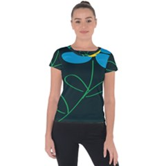 Whimsical Blue Flower Green Sexy Short Sleeve Sports Top  by Mariart