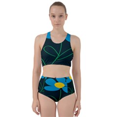 Whimsical Blue Flower Green Sexy Racer Back Bikini Set by Mariart