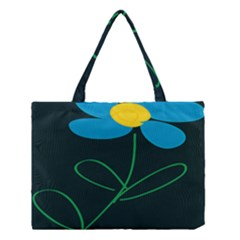 Whimsical Blue Flower Green Sexy Medium Tote Bag by Mariart