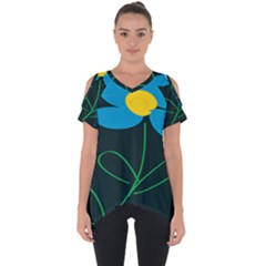 Whimsical Blue Flower Green Sexy Cut Out Side Drop Tee by Mariart